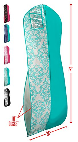 Gusseted Garment Bag - For Prom Dresses and Bridal Wedding Gowns - Travel Folding Loop, ID Window - 72' x 24' -Tiffany Blue and White - Panel Print Collection by Your Bags