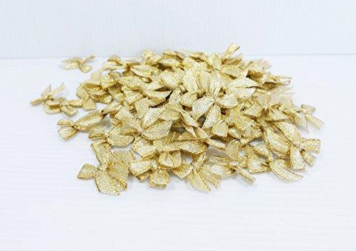 Satin Rosette Ribbon Bow (100 Gold Ribbon Bows Artificial Decor Wedding Card Scrapbook Souvenir Ribbon Bows Crafts Party Decoration Gift Diy)