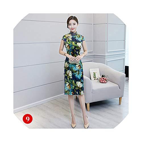 (2019 Spring Silk Dress Cheongsam Fashion Stand Collar Chie Cheongsam Slim Classical Silk Cheongsam Dress,1009 Jin Yu Man Tang,XL)