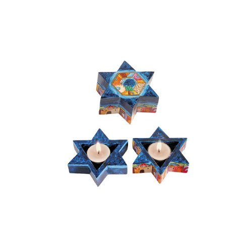 Yair Emanuel Star of David Shabbat Candlesticks with Jerusalem Design