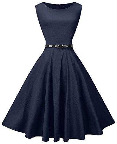 Fedie Women Boatneck Sleeveless Vintage Tea Cocktail Dress with Belt, XX-Large, Navy Bule