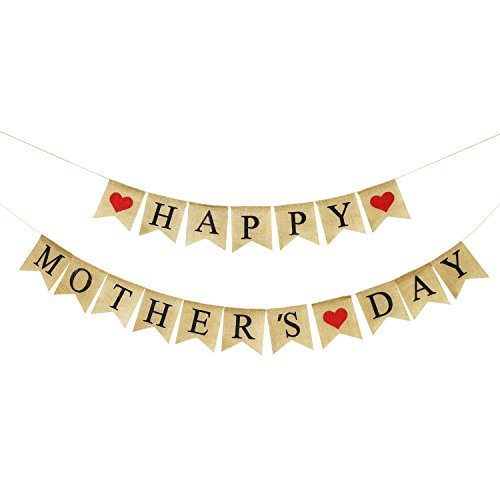 Burlap Happy Mothers Day Banner | Rustic Mothers Day Party Decorations | Mothers Day Gifts Ideas (Mothers Day Decorations)