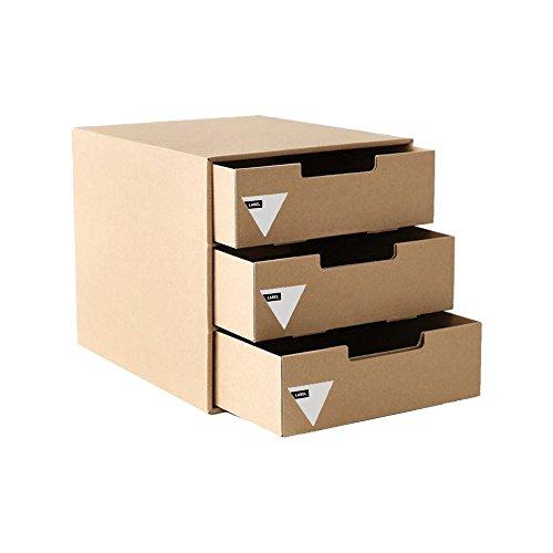 Kraft Paper 3 Drawer Desktop Organizer File Cabinet for Office Supplies, Desk Accessories,Stationery Storage Box Bills Collection Holder by ANTIMAX