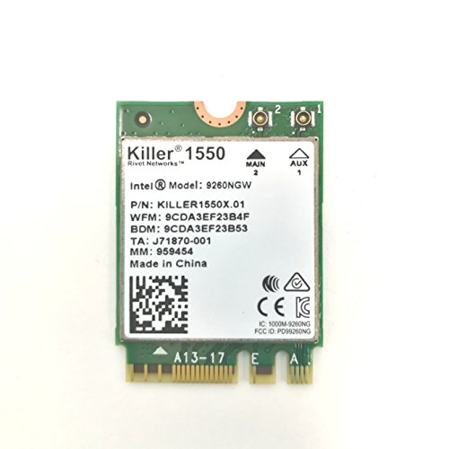 HIDevolution Killer Wireless-AC 1550 802.11ac 2x2 Wireless Card w/Bluetooth 5.0, Replacement for Killer 1535 by HIDevolution