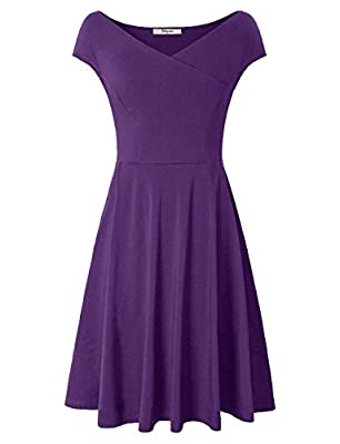 Bebonnie Women's Cap Sleeve Cross V-Neck Fit Flare A-Line Dress