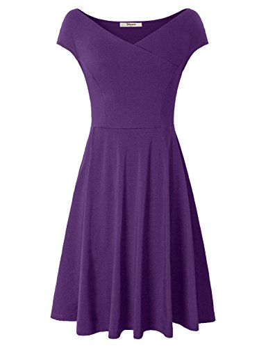 Bebonnie Women's Cap Sleeve Cross V-Neck Fit Flare A-Line Dress