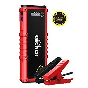 Aickar 1200A Peak 20100mAh Car Jump Starter (All Gas & 6.0L Diesel Engine) Portable Car Battery Jump Starter, Power Bank, Built-in LED Flashlight with Car Jumper Cables Heavy Duty