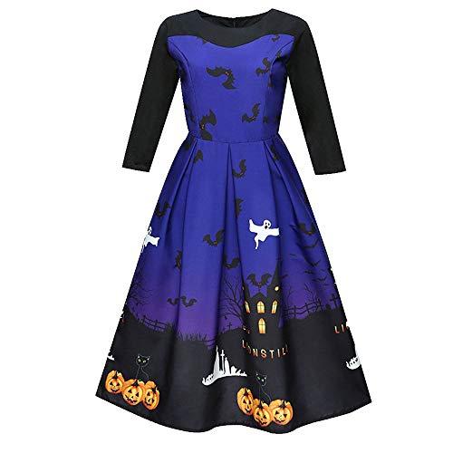 Bleu Impression Bal Robes pour soire de Femmes 02 Ladies Robe soire Swing Robe Lonshell Halloween Genoux Dames dcontracte de 4TwfE