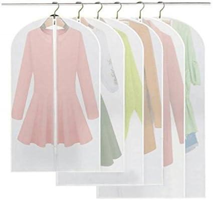 Fundas, BREEZO Pack de 6 PEVA a prueba de fundas para la ropa bolsa para ropa, Full cremallera bolsa para traje, lavable transparente funda para vestidos (2pcs 60*100cm +2pcs 60*120cm +2pcs 60*137cm):