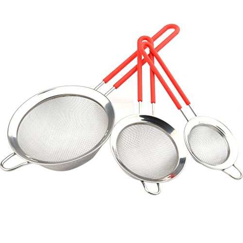 Gudui Fine Mesh Stainless Steel Strainer Set of 3 Sieve Colander Sets Wire Filter Mesh with Silicone Handles - Large, Medium & Small Size - Food Strainer & Sieve - Best for Kitchen, Quinoa, Tea -