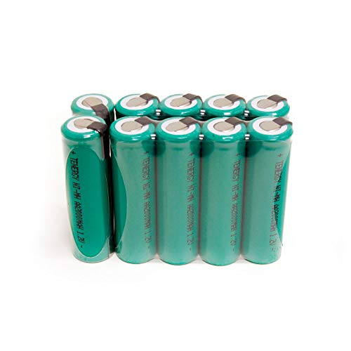 Combo: 10 pcs Tenergy NiMH AA 2000mAh Flat Top Rechargeable Batteries w/Tabs