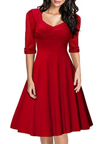 4631bca01ca1 Miusol Women's Retro Hepburn Style Half Sleeve Swing Bridesmaid Dress