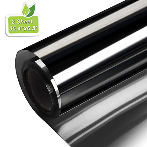 Window Tint for Home, Window Film Privacy Heat Control Blocking Sun Blinds Blackout One Way Mirror Glass Anti-UV Glare Static Cling for Home and Office (Light Black 35.4 inch x 6.5 feet x 2 Sheet) (Best Blinds To Keep Heat Out)