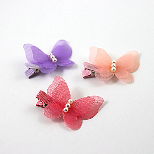 ShungFun Cute Glitter Pearl Butterfly Chiffon Hair Bow Clips Non-slip Hair Clips Hair Barrettes Hair Bows for Little Girls Baby Kids Keens Children Toddlers Women by ShungFun (Image #3)