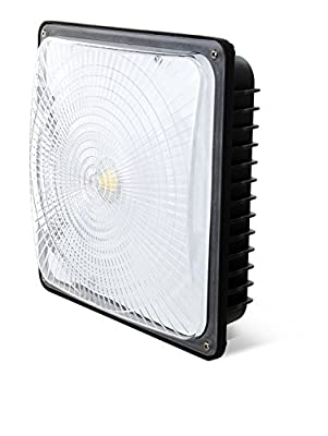 "LED FANTASY 70W LED Canopy Light, (350W HPS/HID Replacement), 5000K (Crystal White Glow), 5900 Lumens, 9.5"" x 9.5"", Waterproof and Outdoor Rated, DLC-Qualified and UL-Listed"