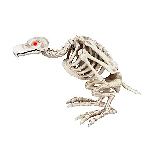 10 In. Animated Head Movement Skeleton Buzzard With Led Illuminated Eyes, Squawks When You Approach - Perfect For Parties