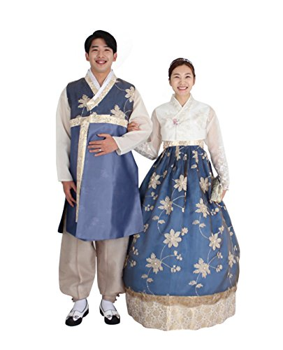 Hanbok Korea Traditional Costumes Women Men Couple Weddings Birthday Speical Ceremony co101 (skirt length 145cm (160-165cm)) by Hanbok store