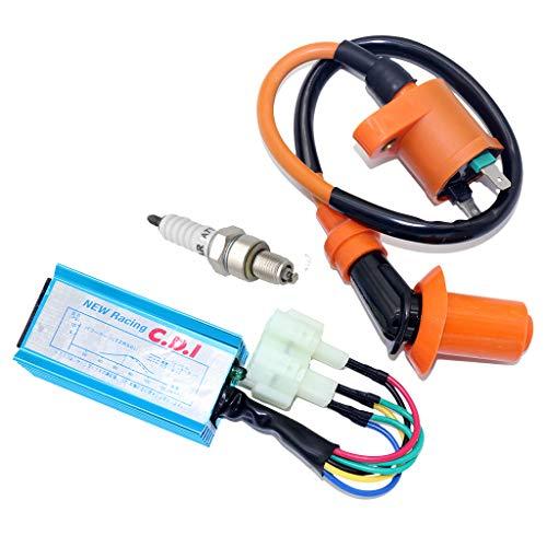 CNCMOTOK High Performance Racing Ignition Coil + Spark Plug A7TC + on