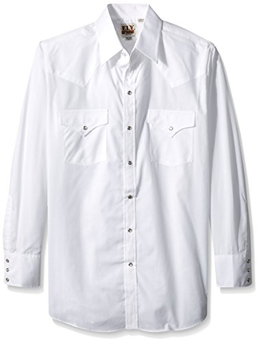 Ely & Walker Men's Long Sleeve Solid Western Shirt, White, Large ()