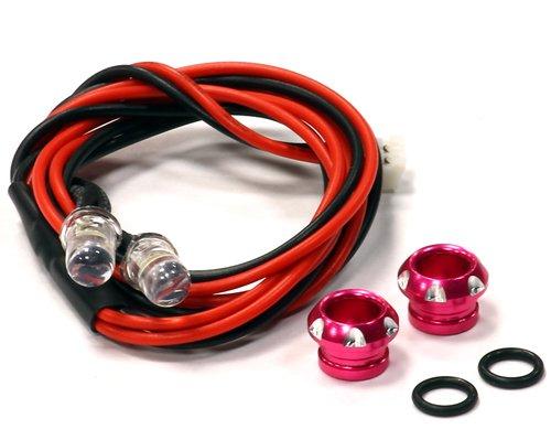 Integy RC Model Hop-ups C24386PINK Billet Machined Alloy LED Holder Set 5mm Size + (2) White LED Light