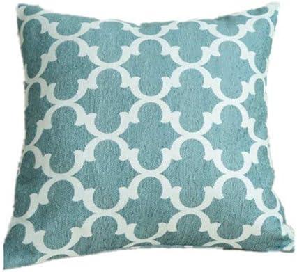 caogsh Cojín Lumbar Bordado, cojín Decorativo para sofá, diseño geométrico de algodón y Lino, cómodo y Suave Estilo nórdico Bordado Funda de cojín 18 × 18 Pulgadas (Azul, geometría): Amazon.es: Hogar