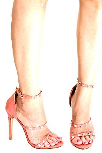 Lolli Couture Diamant Patent Brev Mary Jane Stil Spänne Mandel Tå Plattform Stilettklackar Pinkblushvvsuede-m01-41