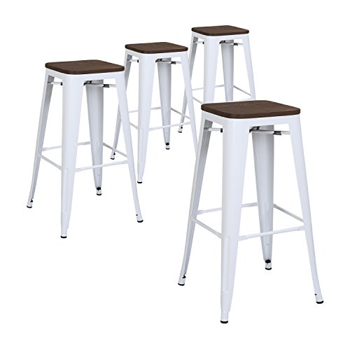 Lch 30 Metal Industrial Counter Height Bar Stools Set Of