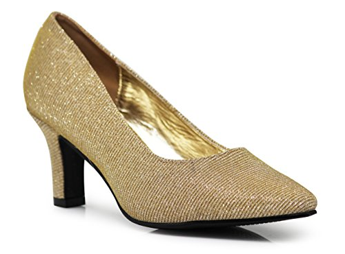 Womens Toe Heeled Pumps Wide Pointy cambria03 Shoes Width Gold Glitter Low Enzo Pointy Sandals Romeo AERqp