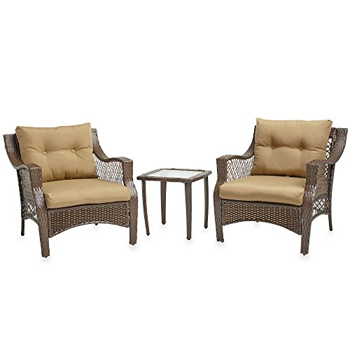 3 Piece Outdoor Patio Wicker Furniture Set With Deep Seat Cushions (Tan)