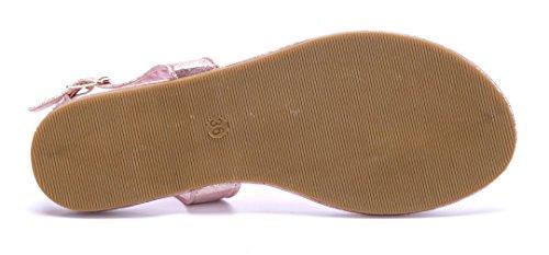 Schuhtempel24 Damen Schuhe Zehentrenner Sandalen Sandaletten Flach Ziersteine Bronze
