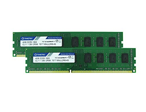 Timetec Hynix IC 8GB Kit (2x4GB) DDR3 1600MHz PC3-12800 Non ECC Unbuffered 1.35V/1.5V CL11 2Rx8 Dual Rank 240 Pin UDIMM Desktop PC Computer Memory Ram Module Upgrade (8GB Kit (2x4GB))