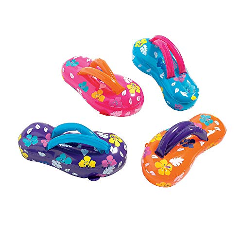 Fun Express - Inflate Flip Flop Sandals - Toys - Inflates - Inflatable Characters - 12 Pieces -