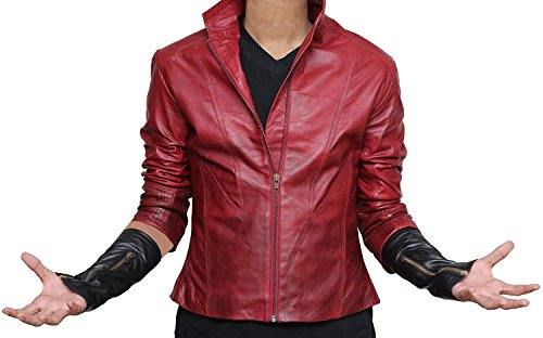 Scarlet Witch Age of Ultron Jacket - Elizabeth Olsen Red Avengers Jacket For Halloween (XS, Red)