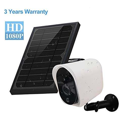 Wireless Rechargeable Battery Powered Security Camera with Solar Panel, 1080p HD Waterproof Outdoor Home Surveillance with Motion Detection, Two Way Audio, Night Vision-Compatible with Alexa(1 Pack)