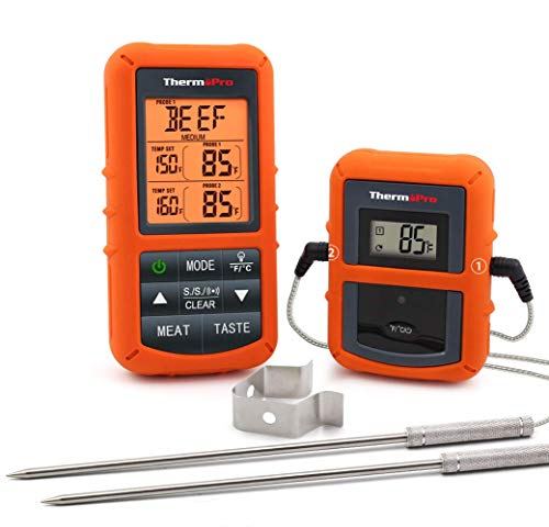 ThermoPro TP20 Wireless Remote Digital Cooking Food Meat Thermometer with Dual Probe for Smoker Grill BBQ Thermometer (Renewed)