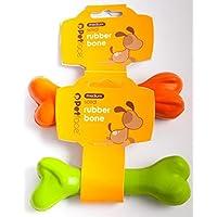 Petface Solid Rubber Bone Dog Toy, Green/Orange