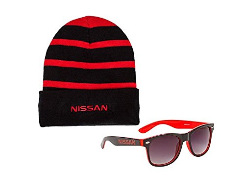 Genuine Nissan Striped Beanie & Two-Toned Sunglasses (Red/Black) -