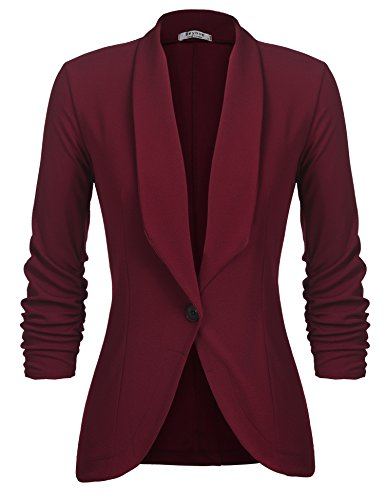 (Beyove Women's 3/4 Ruched Sleeve Casual Office Jacket Slim Fit Blazer Coats Wine Red XL)