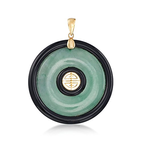 Ross-Simons Green Jade and Black Agate Shou Pendant in 14kt Yellow Gold (Yellow Jade 14kt Pendant)