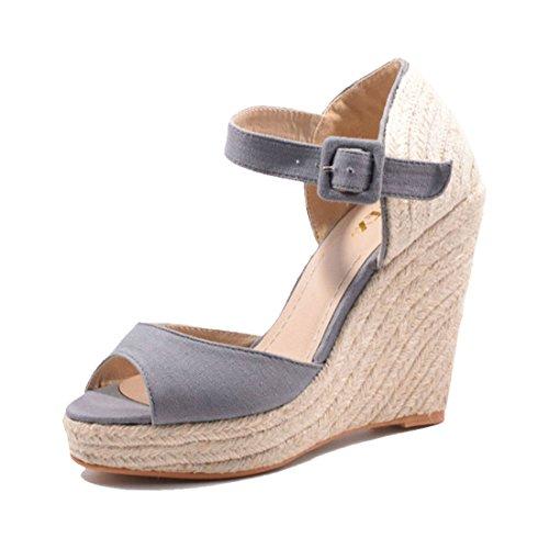 Trendige Damen Keilabsatz Hidden Wedges Sandalen im Bast Look Grau 40