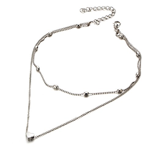 Anqifull Dainty Layered Gold Chocker Handmade Beads Fill Heart White Opal Necklace for Women Girls 012