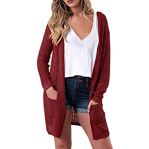 Price comparison product image Coat For Women,  Clearance Sale! Pervobs Women's Long Sleeve Hollow Out Hooded Knitwear Open Front Cardigan Sweaters(12