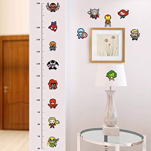 (TIVOPA Funny Doll Iron Man Captain Spiderman Cartoon Movie Hero Home Decal Kids Room Height Measure Growth Chart Wall Stickers)