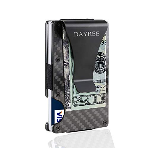 Credit Card Holder, Dayree Carbon Fiber Slim Front Pocket Wallet RFID Blocking Mens Money Clip Matte Finish
