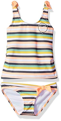 Roxy Little Girls' Lets Go Surfing Tankini Swimsuit Set, Souffle Candy Stripes Swim, 4 ()