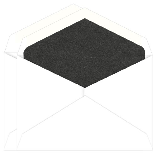Black Lined Envelope - Onyx Metallic Lined Inner Outer Envelopes, Jumbo Radiant White, 25 pack
