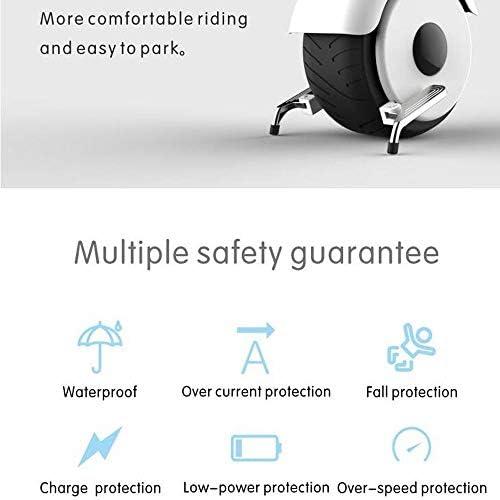 Électrique Monocycle Auto Équilibrage Électrique Monocycle, 800W Hub Moteur Une Roue Scooter Électrique Avec Tubeless Rue Tire Barre De Tension Pliant Repose-pieds ( Color : White , Size : 50km )