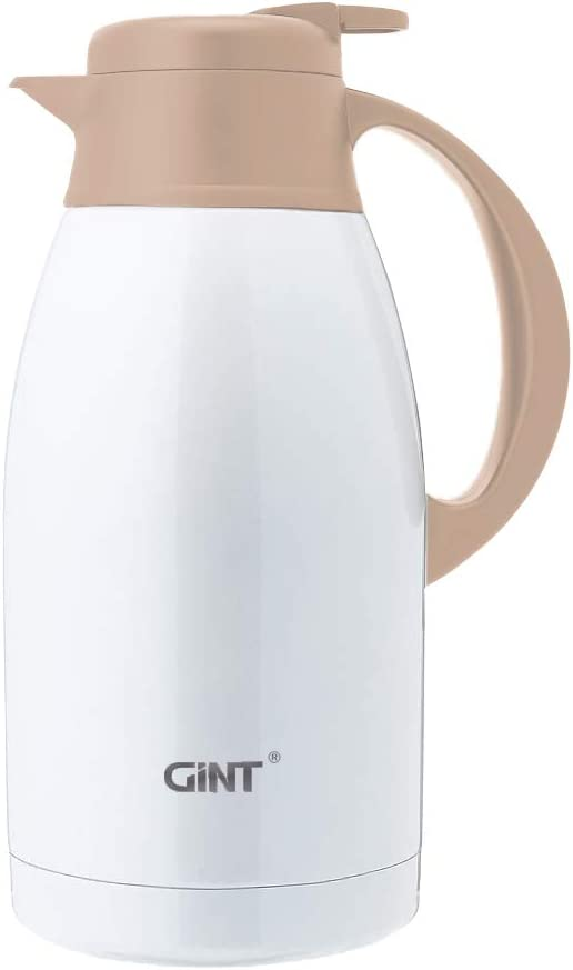 GiNT Stainless Steel Thermal Coffee Carafe, Double Walled Vacuum Thermos Water and Beverage Dispenser,12 Hour Heat Retention,65 OZ /1.9 Liter White