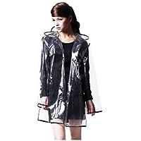 Capa impermeable impermeable EVA con capucha para mujer Bienvenu con borde corto negro