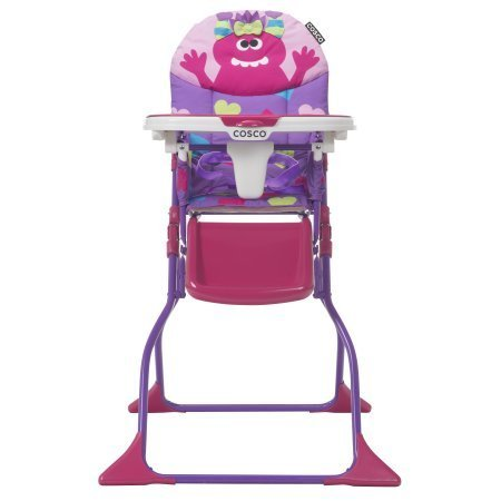 Cosco Simple Fold Deluxe High Chair, Monster Shelley Easy-to-Clean Design and Slim Fold will Delight - Girl American High Monster
